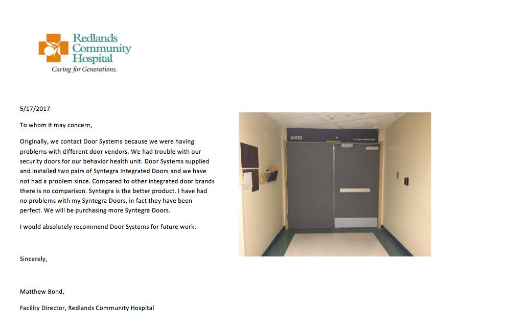 redlands community hospital doors